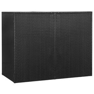 vidaXL Mülltonnenbox für 2 Tonnen Schwarz 153 x 78 x 120 cm Poly Rattan