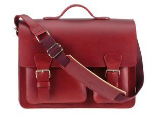 Ruitertassen Lehrertasche Leder 40cm 3 Fächer Schultasche Aktentasche rot Damen Herren 2342T-15