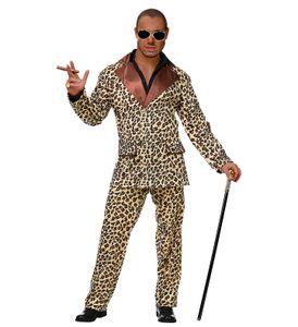 Funky Leopard Anzug Pimp Herren-Kostüm Sakko und Hose, Größe:L