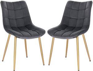 WOLTU 2er-Set Küchenstühle aus Samt goldene Beine Elif grau