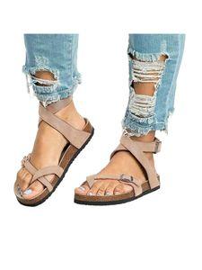 Abtel Damen Mode Open Toe Slipper Sandalen Einfarbig,Farbe:Beige,Größe:44