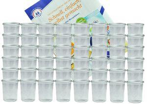 48er Set Weck Gläser 160 ml Sturzgläser incl. Diamant-Zucker Gelierzauber Rezeptheft