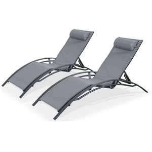Duo aus Sonnenliegen aus Aluminium - Louisa Anthrazit - Liegestühle aus Aluminium und Textilene