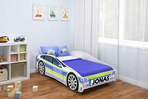 ACMA Jugendbett Kinderbett Auto-Bett Junior Cars Bett Komplett-Set mit Matratze Lattenrost und Rausfallschutz 140x70 cm - Polizei -1 + NAME