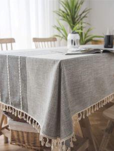 Quaste Tischdecke Abwaschbar Baumwolle und Leinen Tischtuch Grau Tischdecke Rechteck Couchtisch