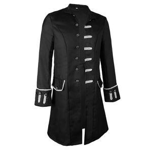 Herren Victorian Gehrock gotische Steampunk Jacke Vintage Frack L schwarz Mantel Solide
