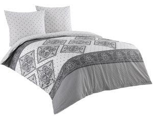Bettwäsche 200x200 + 2x 80x80 Baumwolle Renforce weiß grau Ornamente Wendefunktion , 3-teilig
