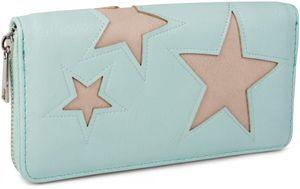 styleBREAKER Geldbörse mit Stern Cutout Muster und Ziernaht, umlaufender Reißverschluss, Portemonnaie, Damen 02040037, Farbe:Mint / Stern Beige