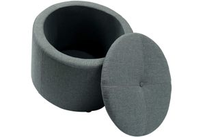 Sitzhocker Ø50 cm x 40 cm grau mit Stauraum Hocker Sitztruhe