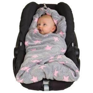 Hoppediz® Fleece-Einschlagdecke aus weichem Polarfleece mit Sternen 0,80m x 0,80m Farbe: grau-rosé