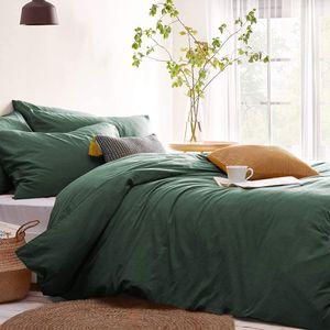 Bettwäsche 220x240cm Dunkelgrün Grün Microfaser Bettwäscheset Uni Unifarben Doppelbett Bettbezug mit Reißverschluss und 2 Kezissenbüge 80x80 cm