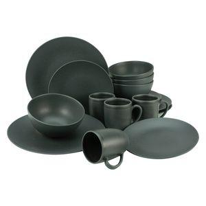 CreaTable 23145 Kombiservice Soft Touch Black für 4 Personen, Steinzeug, schwarz (1 Set, 16-teilig)