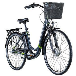 Zündapp Z510 700c E-Bike E Cityrad Damenrad Pedelec Elektrofahrrad Damen Fahrrad 28 Zoll, Farbe:grau/grün, Rahmengröße:48 cm