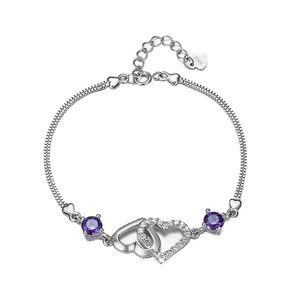 Hot 925 Sterling Silber Doppelherz Lila Kristallkette Armband Geschenk