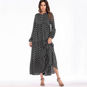 Frauen-Kleid-Tupfen-Druck-Knopf-lange Huelsen-freier Maxi Long Beach-Weinlese-boehmischer Einteiler4XL