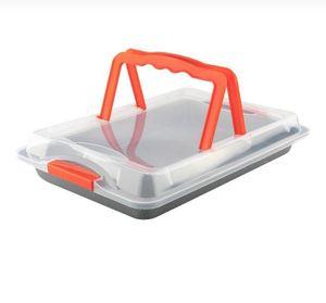 Backform Backblech mit Transporthaube 42x29cm - Griff - Farbe:  orange