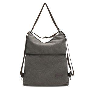 JOSEKO Canvas Tasche Segeltuch Schultertasche Damen Rucksack Handtasche Vintage Damen Umhängentasche für Reise Outdoor Schule Einkauf Alltag Büro - Grau