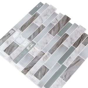 3D dreidimensionaler Fliesenaufkleber Selbstklebender wasserdichter Wandaufkleber,Farbe: Polierter Marmor,Größe:25.3x26.9cm