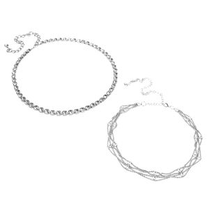 2er Set Strass Gürtel Braut Schmuckgürtel Kleidung Deko Kettengürtel Hüftgürtel Taillengürtel Silber