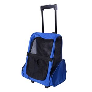 PawHut Hundetrolley Transporttasche Tragetasche für Tiere 2in1 Rucksack und Trolley 35x27x49 cm Blau