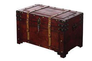 Truhe AX4017 Abschließbar MIT Schloss Holztruhe Schatzkiste Kiste Piratenkiste, Größe:Größe XL 60 x 35 x 38 cm