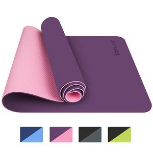 TOPLUS Preumium Yogamatte aus hochwertigen TPE, rutschfest Yogamatte Gynastikmatte Übungsmatte Sportmatte für Yoga, Pilates, Fitness usw. (183x61x0.6cm),Lila-Pink