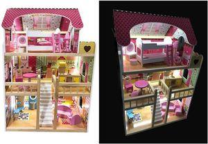 Puppenhaus aus Holz fur  Kinder mit Mobel Licht Kinderspielzeug COIL
