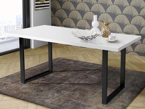 möbelando Esszimmertisch Holztisch Speisetisch Esstisch Tisch Küchentisch Talbert VII Weiß matt/Schwarz