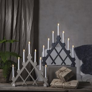 Fensterleuchter 'Rut' - 7flammig - 7 warmweiße Glühlampen - L: 43cm, H: 53cm - Holz - grau