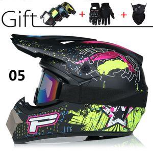 Motocross Helm Adult Off Road Helm Motorradhelm Cross Helme Schutzhelm ATV Helm mit Handschuhe Maske Brille 05 Größe M(56-57CM)