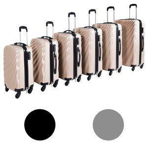 Großes 6'er Hartschalen-Koffer-Set in verschiedenen Farben inkl. Kofferwaage, Farben:Silber