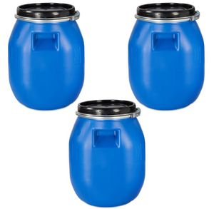 3 Stück 30 Liter Deckelfass, Kunststofffass, Futtertonne, Fass, Weithalsfass Farbe blau mit Griffmulde (3x30 DGM)