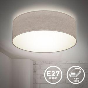 Deckenlampe Stoffdeckenleuchte Deckenleuchte Bürolampe Textilschirm E27 1-Flammig Ø30cm Taupe ohne Leuchtmittel