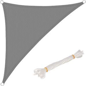 WOLTU Sonnensegel Dreieck 3x3x4,25m Grau atmungsaktiv Sonnenschutz HDPE Windschutz mit UV Schutz für Garten Terrasse