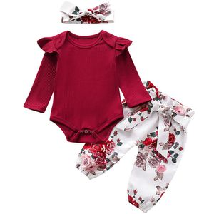 Baby Mädchen Kleidung Langarm gestrickte Strampler Top+Blumen Bedruckte Hose+Stirnband 3 Stücke Outfits Set 0-3 Monate Weinrot