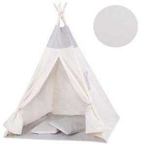 Tipi Zelt Kinder Spielzelt Baumwolle 2 Kissen Kinderzelt 160x120x100 cm - Grau