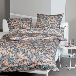 Janine Interlock Jersey Bettwäsche 2 teilig Bettbezug 135 x 200 cm Kopfkissenbezug 80 x 80 cm Carmen 53092-02 mineralblau kastanie