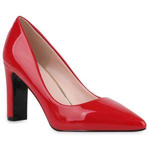 Mytrendshoe Damen Spitze Pumps Blockabsatz High Heels Elegante Abendschuhe 832064, Farbe: Rot, Größe: 40