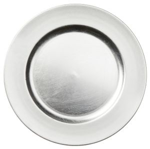 Platzteller Dekoteller Kunststoff Ø 33 cm silber - used look