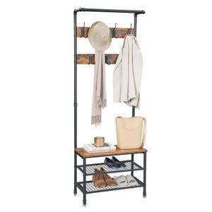 VASAGLE Garderobenständer, Kleiderständer mit Sitzbank, Schuhregal mit 2 Gitterablagen, Garderobe, Metall, einfacher Aufbau, Vintage, dunkelbraun HSR37BX
