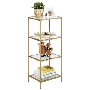 VASAGLE Bücherregal mit 4 Ablagen aus Hartglas | einfacher Aufbau Standregal Badezimmerregal Wohnzimmerregal Pflanzenregal stabil  goldfarben LGT28G