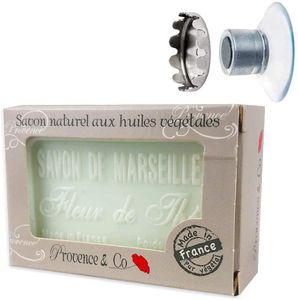 SudoreWell® Schwebender Seifenhalter mit Magnet plus Savon de Marseille - Naturseife Teeblüte 100g