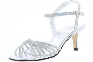 Vista Damen Sandaletten Glitzeroptik silber, Größe:39, Farbe:Silber
