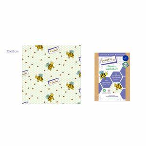beeskin Bienenwachstuch Größe M, Lebensmittelaufbewahrung, Wiederverwendbar, Motiv Kids, 25 x 25 cm