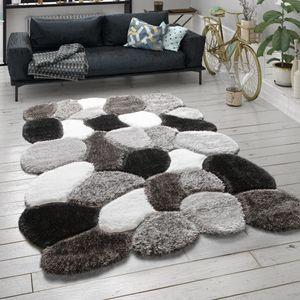 Hochflor Teppich Für Wohnzimmer Shaggy Cut-Out-Design 3-D-Muster Langflor Grau, Grösse:160x230 cm