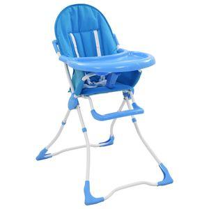 Baby-Hochstuhl, Kinderhochstuhl, Babystuhl, Kombihochstuhl Blau und Weiß