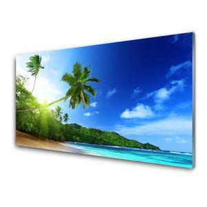 Glasbilder 100x50 Wandbild Druck auf Glas Strand Meer Palmen Landschaft