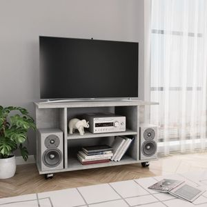 tongqiu TV-Tisch TV-Schrank mit Rollen Betongrau 80×40×40 cm Spanplatte