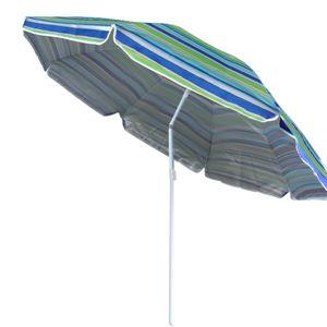 gestreifter Sonnenschirm Sonnenschutz UV-Schutz UPF 50+ 180cm aus Stahl mit Kippfunktion höhenverstellbar Strandschirm Balkonschirm Gartenschirm (Grün)