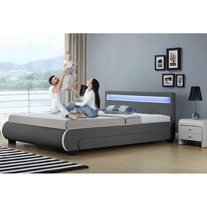 Juskys Polsterbett Bilbao 180 x 200 cm grau – Bettgestell mit Lattenrost, Bettkasten & LED Beleuchtung  – Kunstleder & Holz – Bett Doppelbett